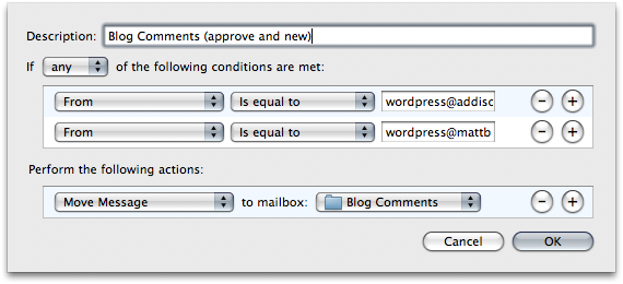 Mail Rules - Blog Comments