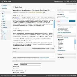 WordPress 2.7 Edit Post Screen